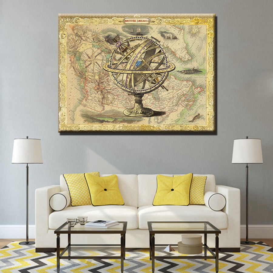 Vintage Old Map Compass Tellurion Painting Canvas HD Print Artwork ...
