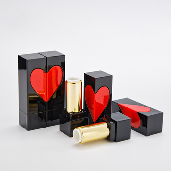 Square Black Lipstick Package with Red Heart, 12.1mm Container Lip Balm