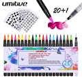 Umitive 20 colores pincel para acuarela Pen Set con 1 pincel de mezcla recargable punta suave Flexible para adultos