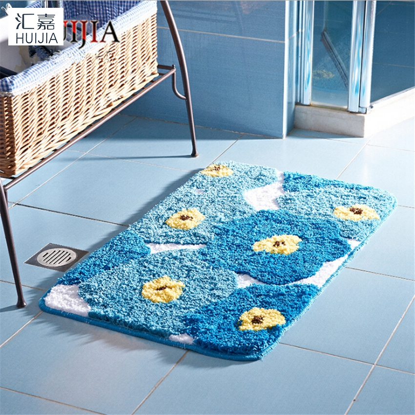 Blue Flower Microfiber Door Mat Tpe Non Slip Soft Rug And