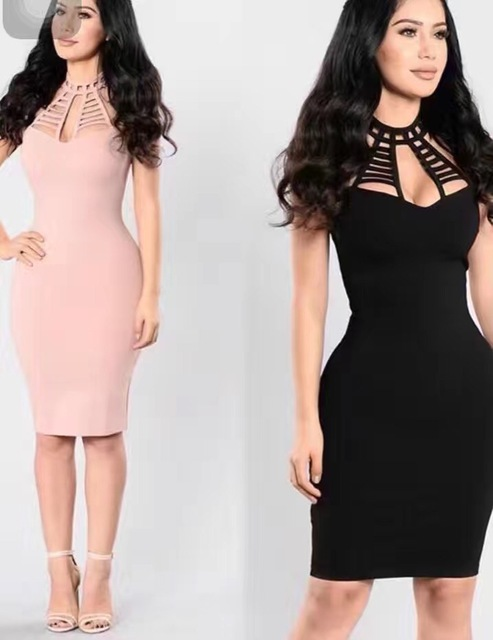 Shining Beauty 4 Colors Wome's Sexy Hollow Out Yellow Pink Bodycon Black Bandage Dress Ladies Knitted Elegant Celebrity Party Dr