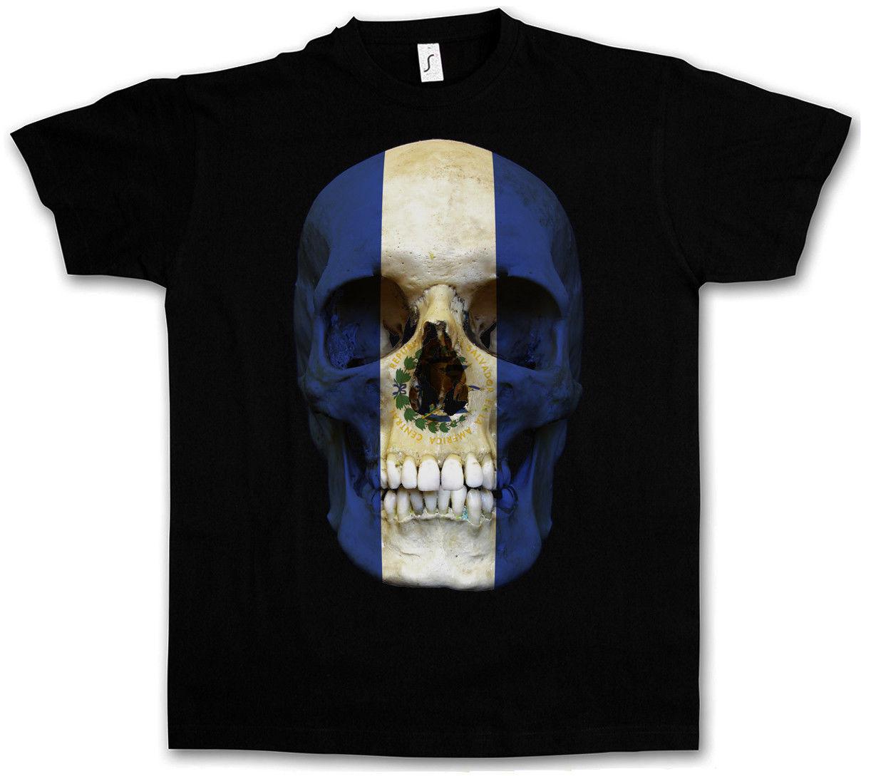 2018 Летний Стиль Классический Сальвадор череп флаг футболка-Байкер MC баннер рубашка Размеры S-3XL Лидер продаж 100% хлопковая футболка