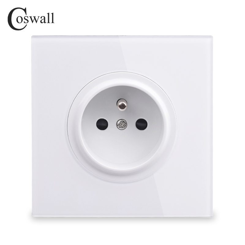 Coswall 2018 New Arrival Crystal Glass Panel 16A French Standard Wall Power Socket Outlet Grounded With Child Protective Lock