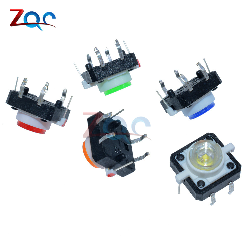 Active Components Bright 5pcs Yellow Led Tactile Button Push Switch Momentary Tact With Led Round Cap