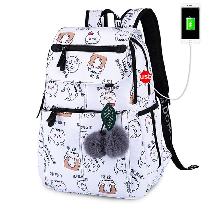 Fashion School Backpack USB Charge School Bags For Girls Women Backpack Schoolbag Satchel Backpack Child Kids School Bag Mochila