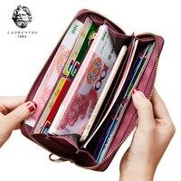 LAORENTOU Women Split Leather Wallets New Fashion Clutch Wallets Retro Lady Wallet Simple & Stylish Women Zipper Purse