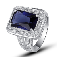 Gorgeous Handsome Style Women Rings Emerald Cut Blue Sapphire Quartz  925 Silver Ring Size 7 8 9 10 Fashion Jewelry Wholesale