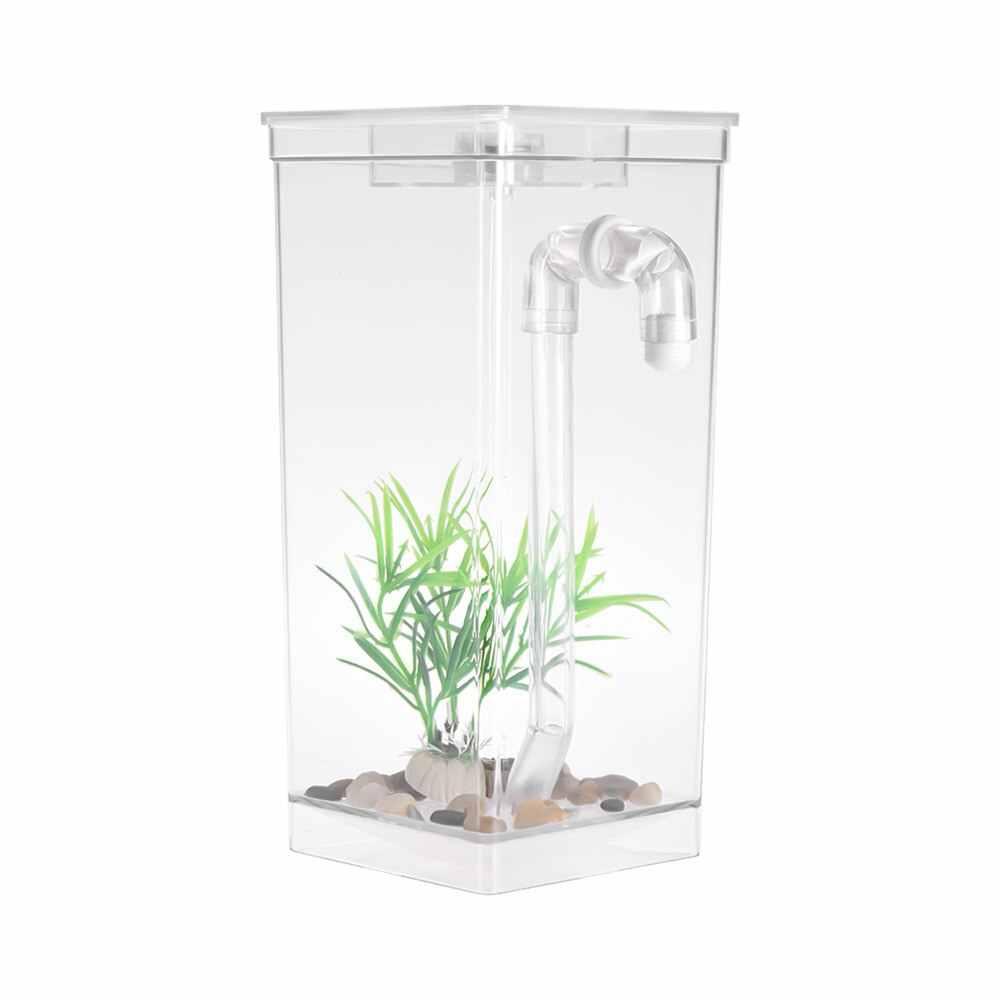 Аквариум самоочищающийся маленький аквариум чаша удобный акриловый Настольный аквариум для офиса дома творческие подарки для детей