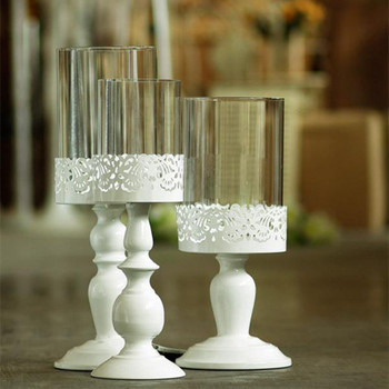 Wholesale Scandinavian style white cast iron carved high Holman sets of three cups glass candlestick wedding фото