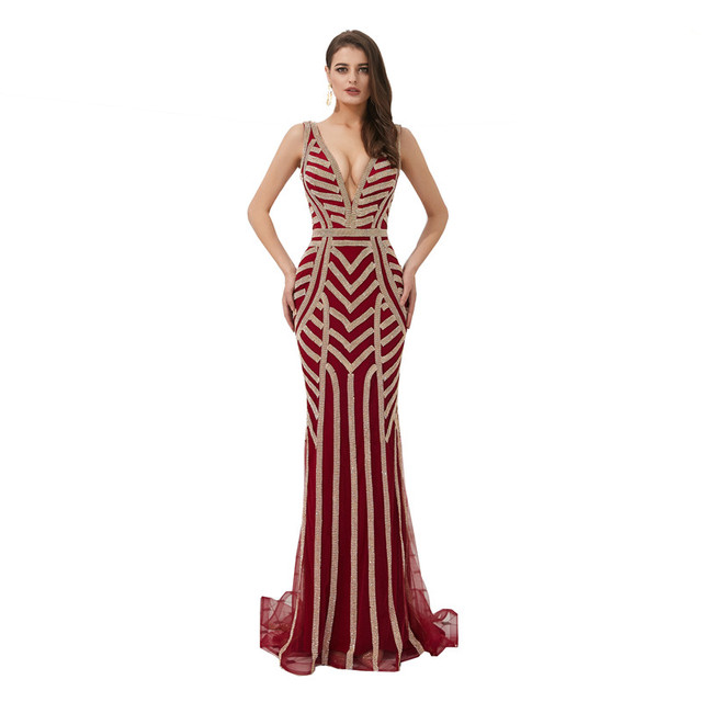 a0876a6fa5b7b4c Высокое качество глубокий v-образный вырез спинки вечернее платье с  блестками на бретелях Русалка выпускное платье халат de soiree рыбий хвост .