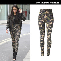 Camouflage High Waist Stretch Slim Smashed Jeans Feet Pants Skinny Jeans Woman Ripped Jeans for Women Boyfriend Jeans for Women
