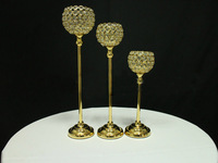Оптовая продажа 50 см серебро и золото пластины хрустальный Глобус гладить свечи Ходлер, рождественские свечи дома, садовый подсвечник