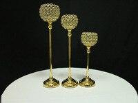 Atacado 50 cm prata e placa de ouro de cristal globo de ferro vela hodler, casa suporte de vela de natal, jardim suporte de vela