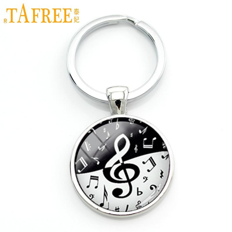 TAFREE Stylish treble clef wave key chain creative yin yang black white musical notes keychain musician music fans jewelry KC610 цены онлайн