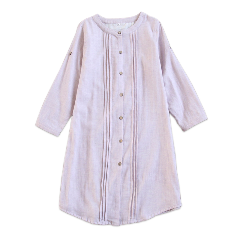Japanese 100% gauze cotton women night dress nightshirts long sleeves pyjamas women nightgown underwear dress sheer sleepwear ...
