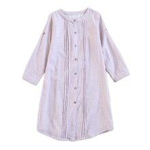 Japanese 100 gauze cotton women night dress nightshirts long sleeves pyjamas women nightgown underwear dress sheer
