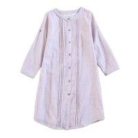 Japanese 100% gauze cotton women night dress nightshirts long sleeves pyjamas women nightgown underwear dress sheer sleepwear