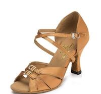 New Women Tan Satin Rhinestone Buckles Salsa Ballroom Tango Dance Shoes ALL Size