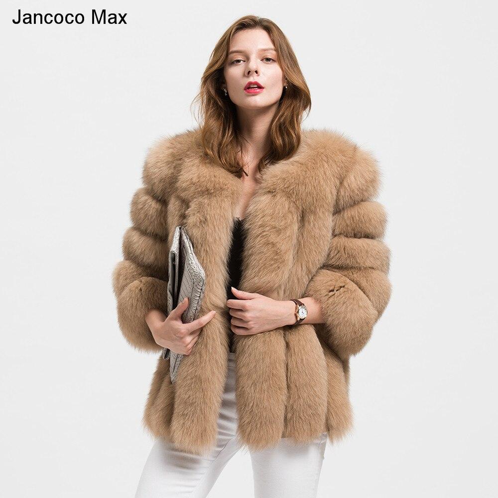Jancoco Max оптовая/розничная продажа 10 цветов для женщин натуральным лисьим Мех животных куртка или Леди Зимняя мода пальто S1589
