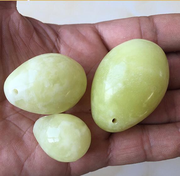 Green stone drilled jade eggs 3pcs /set yoni egg for women