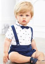 2017 Été Coton Bébé Vêtements 1 pc Gentleman Garçon Vêtements manches courtes chemise avec bowtie + pantalon court à bretelles vêtements ensembles pour garçon
