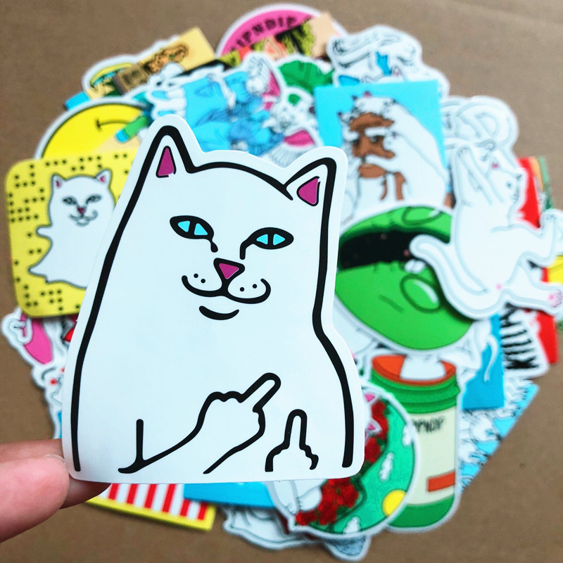 50pcs Hot Pin Middle Finger Cat Graffiti Ripndipp Waterproof Sticker For Fridge Travel Suitcase Bike Sliding Plate Car Styling