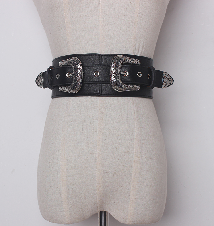 Women's Runway Fashion Elastic PU Leather Buckle Cummerbunds Female Dress Corsets Waistband Belts Decoration Wide Belt R1327