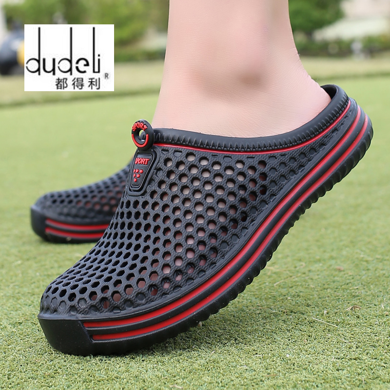 DUDELI Comfortable Men Pool Sandals Summer Outdoor Beach Shoes Men Slip On Garden Clogs Casual Water Shower Slippers Unisex