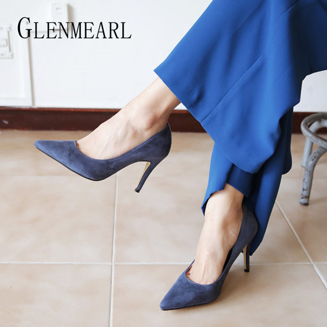 Women Pumps High Heels Shoes Pointed Toe Brand Woman Wedding Shoes Spring Summer Thin Heels Office Lady Dress Shoes Plus Size