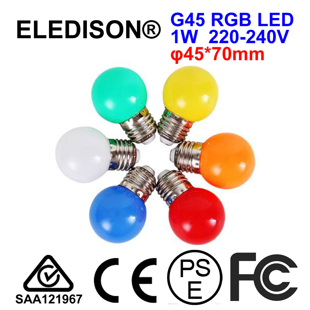 RGB ED Light Bulb G45 3W E27 220V Globe Bombillas Colorful Red Blue Green Yellow Orange White for Chrismas Wedding Decoration