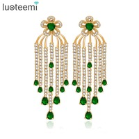 LUOTEEMI Luxury Vintage Design Bridal Flower Tassel Big Earrings Champagned Gold Plated For Christmas And Wedding