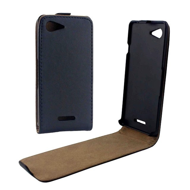 Vertical PU Leather Flip Case Fundas Capa For <font><b>Sony</b></font> <font><b>Xperia</b></font> <font><b>E3</b></font> <font><b>D2203</b></font> Cover Up-Down Open skin pouch Mobile Phone Bags image