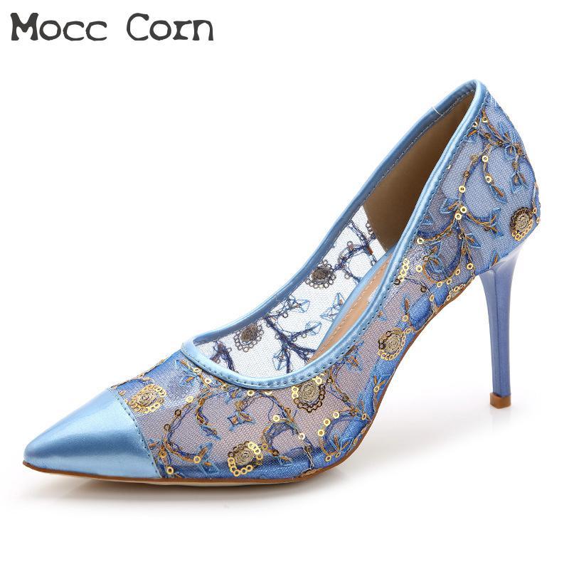 Femmes Pompes Luxe or Été Noir Pointu Valentine Hauts bleu Femme Chaussures Dentelle Sequin Talons Mariage Maille Bout Mariée Sexy Mince blanc De R0wq7ROx