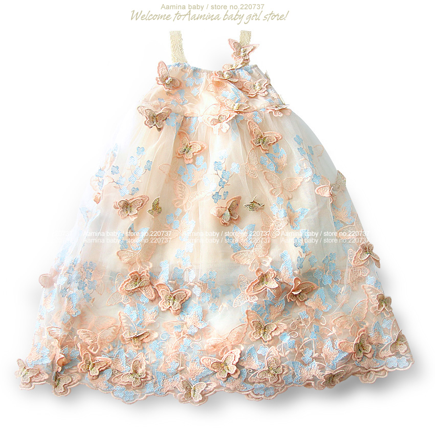 Catch Eyes 3D Butterfly Embroidery Pearls Baby Girls Dress Toddler Summer Princess Party Wedding Kids dresses