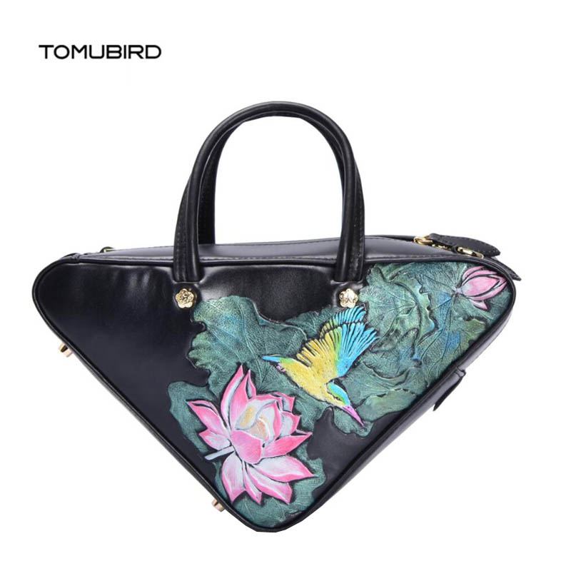 TOMUBIRD New women genuine leather bag fashion National wind embossing Flower art bag women real leather handbags shoulder  bagTOMUBIRD New women genuine leather bag fashion National wind embossing Flower art bag women real leather handbags shoulder  bag