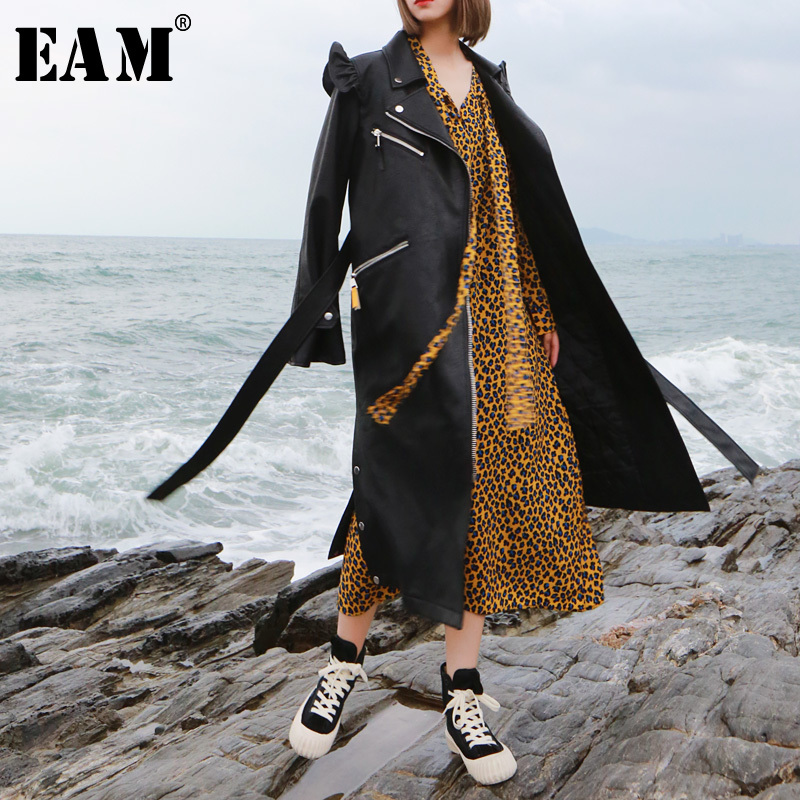 [EAM] 2019 New Spring Lapel Long Sleeve Black Loose Long Pu Leather Ruffles Stitch Windbreaker Women Fashion   Trench   JK410