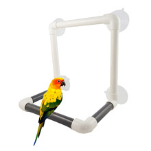 Portable Suction Cup Large Fold Away Shower Perch Bird Toy Travel Parrot Bath Shower Standing Platform Rack Parrot Standing(China)