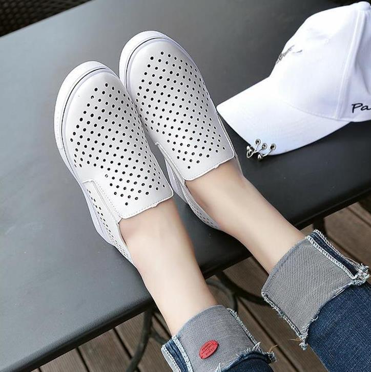 Augmenté Creux Une Casual argent Chaussures Respirant D'été Noir Pédale Petit Blanc Et blanc Femmes Printemps Mode wzHq8w