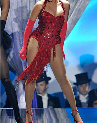 New fashion red sexy sequin female singer dancing show bodysuit star style star tassel rhinestone sling handmade women