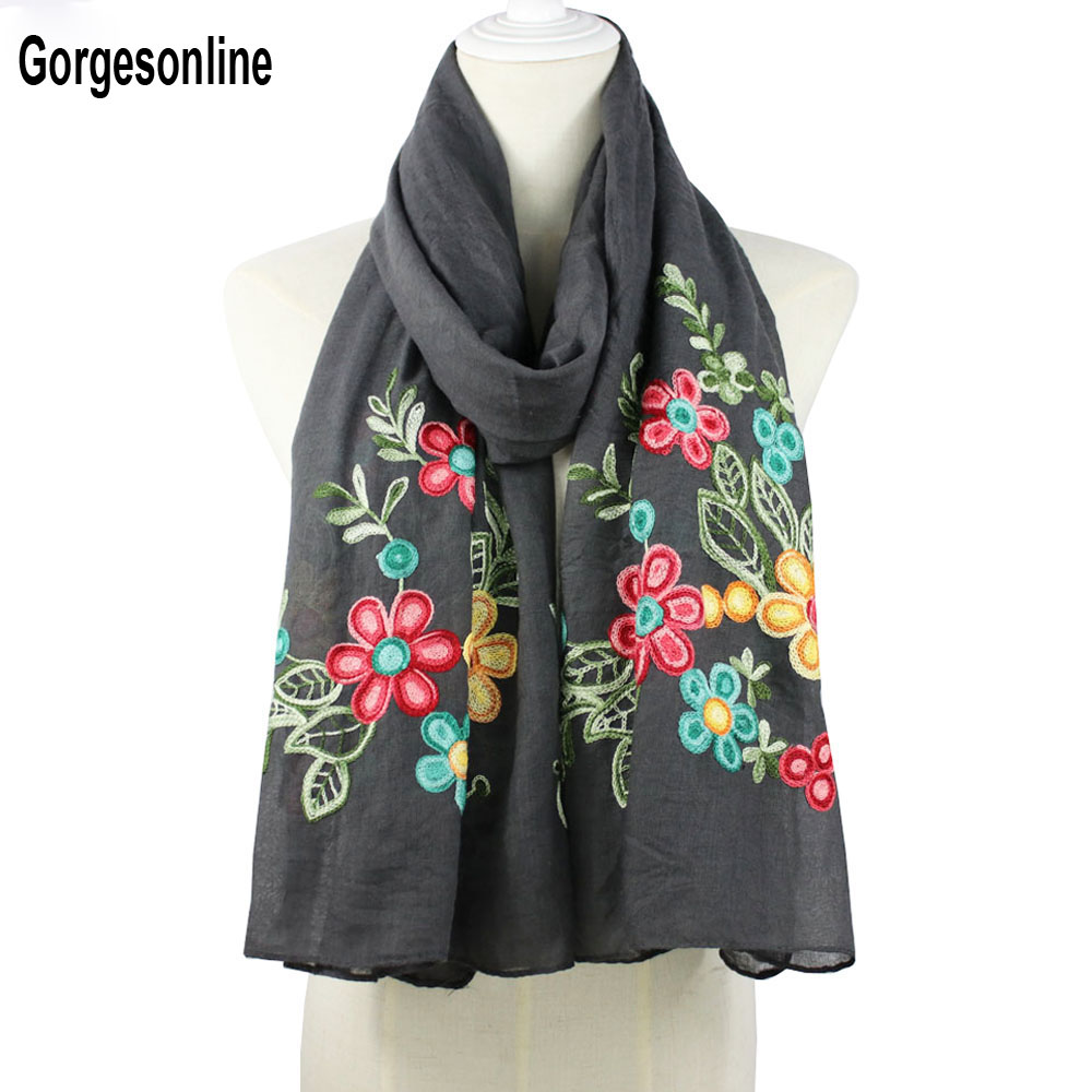 Wholesale fashion ladies 100% viscose embroidery flower   scarf     wrap   shawl muslim head hijab   scarf