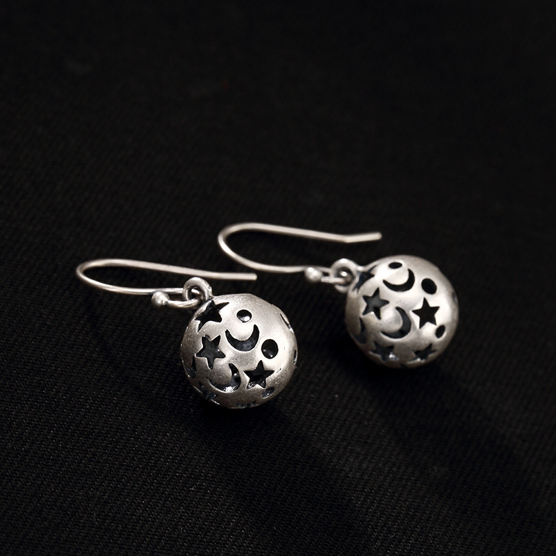 Silver Hollow Out The Stars The Moon Ball Silver Restoring Ancient Ways Of High-grade Ladies Fine Earrings Earrings