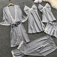 Женские пижамы, сексуальный пятнистый комплект кружевной пижамы, ночная рубашка, ночная рубашка, халат, ночное платье, 5 шт., костюм 7/24