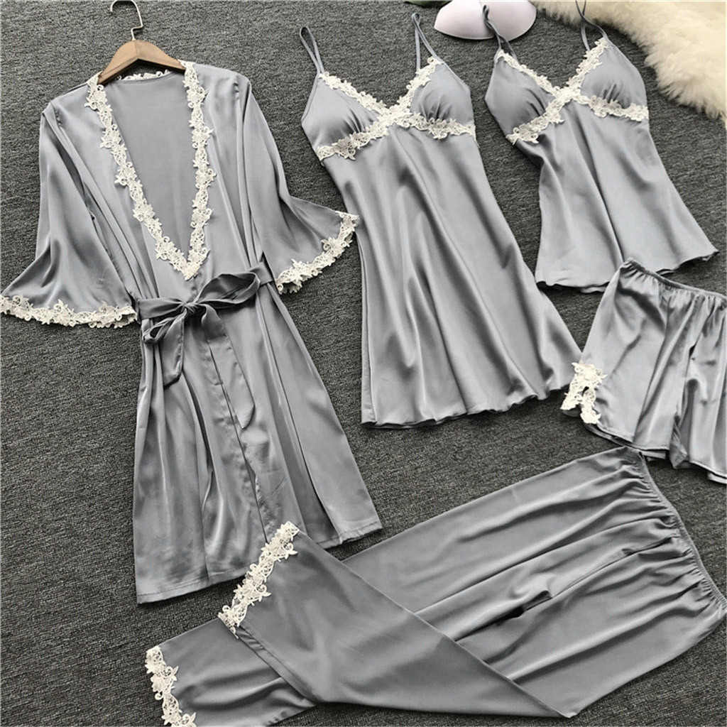 Women's Pajamas Sexy Stain Lace Pajama Set Nightie Sleepwear Nightdress Nightgown Bathrobe Night Dress 5PC Suit 7/24