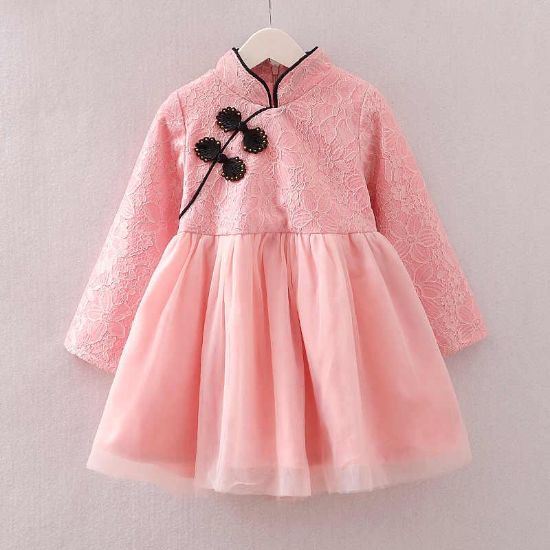 Платья для девочек 2017, платье Чонсам в китайском стиле для девочек на осень и зиму, бархатное плотное платье принцессы, детская одежда для девочек