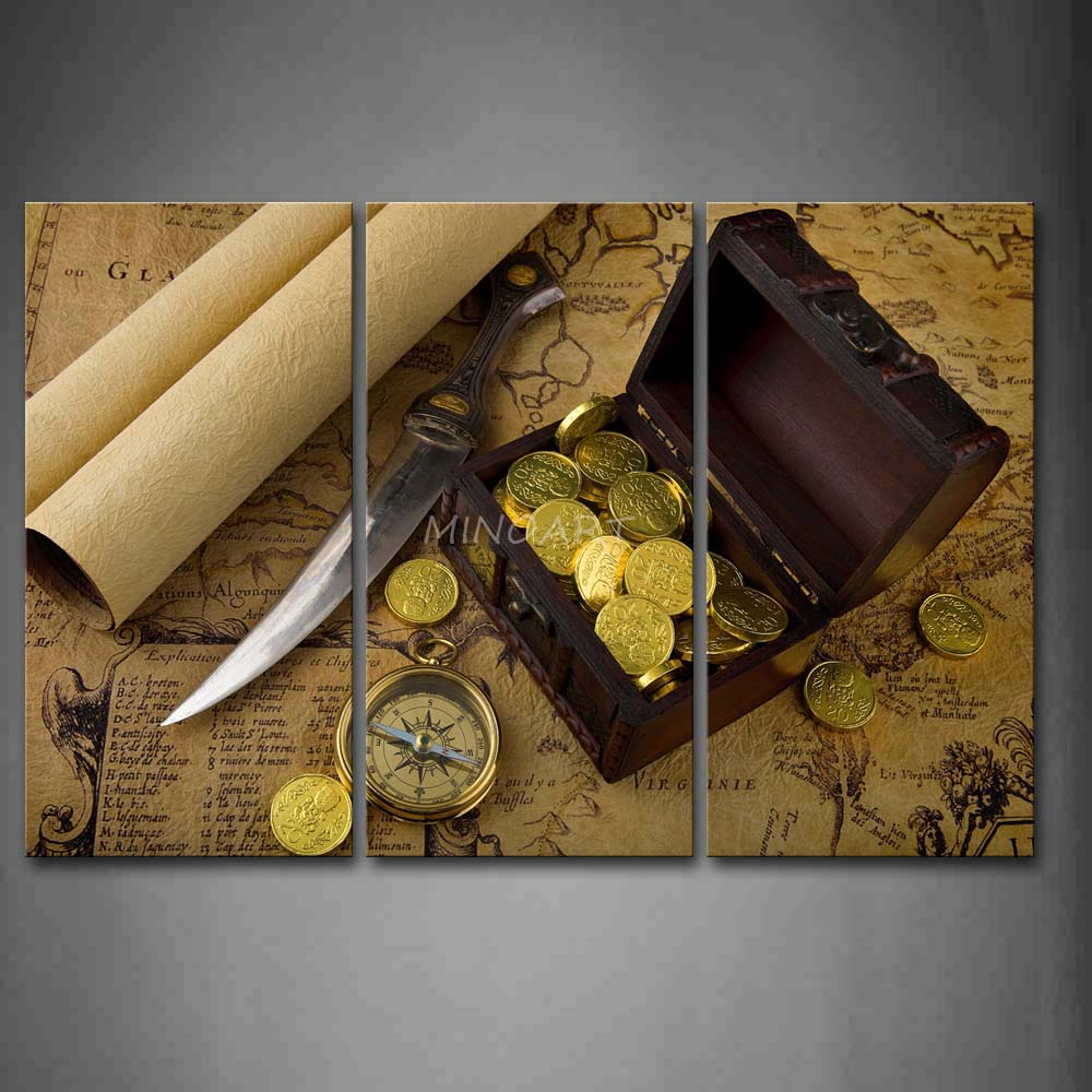 3 Piece Brown Wall Art Painting Sharp font b Knife b font Campass Gold Coins In