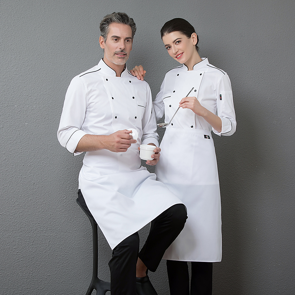 High Quality White Top Chef Restaurant Kitchen Long Sleeve Work Jacket Men Cooking Wear Double Breasted Cozinha Uniform Clothing in Chef Jackets from Novelty Special Use