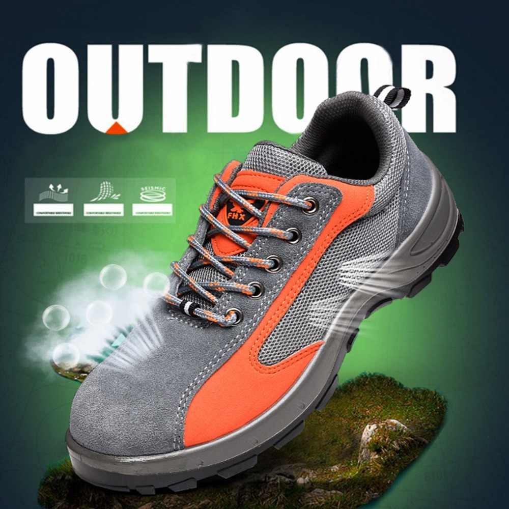 Safety Work Boots Steel Toe Cap Anti-Smashing Puncture Proof Wear Resistant Breathable Protective Shoes for Summer super shock absorbing steel toe cap safety shoes tear resistant breathable work shoes