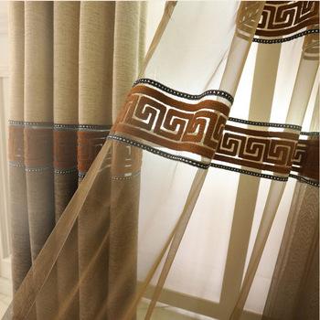 Chiński styl luksusowe sypialnia kawa zasłony gotowe zasłona do drzwi tkaniny zasłony kuchenne do zasłony na okna do salonu wp3023 tanie i dobre opinie Translucidus (Stopa Cieniowanie 41 -85 ) Kurtyny Lewy i prawy biparting otwarta Okno Zewnętrzne instalacji Haftowane Mieszkanie okno