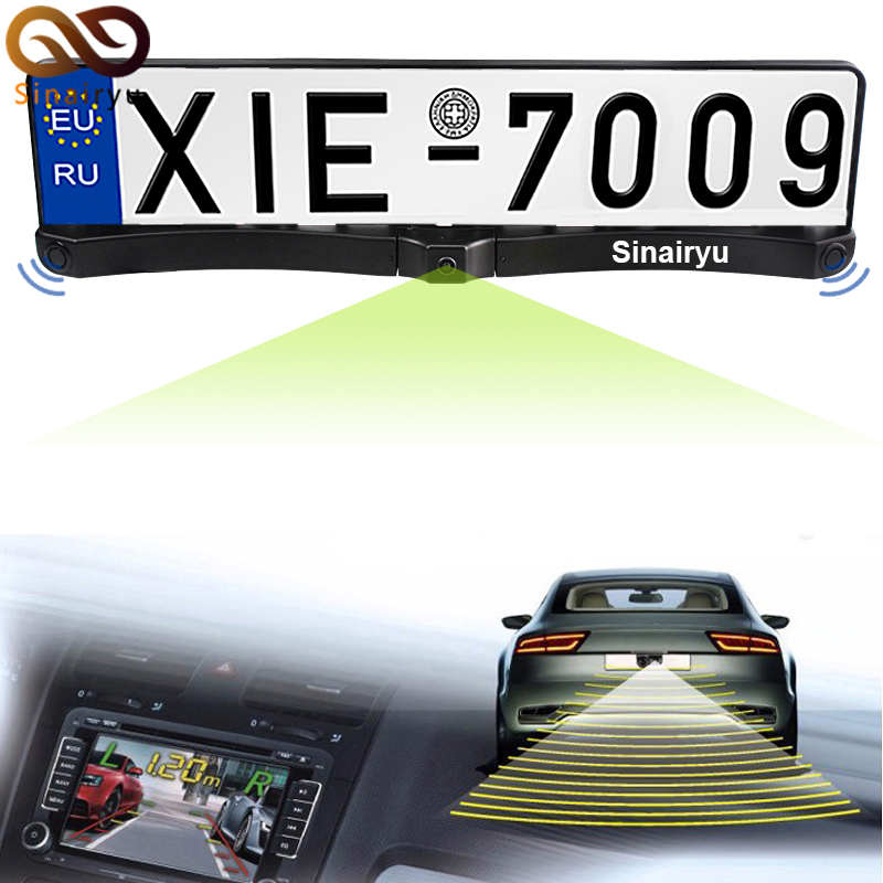 MJDXL Russia EU Universal License Plate Frame Two Parking Sensors Car Backup Reverse Radar With HD CCD Night Vision Rear Camera