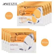 Ameizii 10Pcs=5Packs 24k Gold Eye Masks Crystal Collagen Gel Patches Remove Dark Circle Anti Wrinkle Skin Care Treatment